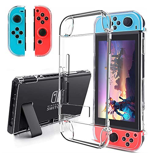 BestFire Dockable Case for Nintendo Switch Joycon Cover Protectors Hard PC Protective Accessories Cover Case for Nintendo Switch and Joy-Con Controller, Crystal Clear Clear Crystal Case Protector Cover