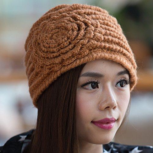 Sombrero versión el de ORANGE para otoño estéreo Invierno Mano Boina Ms Maozi a de Grueso Coreana Punto Flores Punto Hecha Yellow de qYnd6C