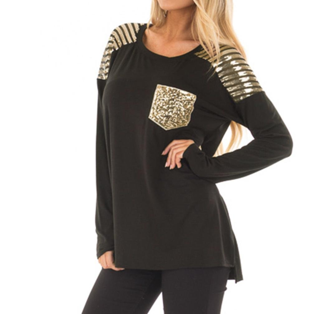 Easytoy Women Casual Long Sleeve Sequined Stitching Pocket Irregular Tops Blouse (Black, L)