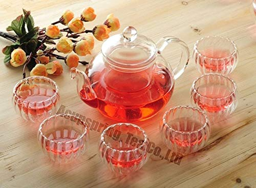 BeesClover 600ml Glass Coffee/Tea Pot+ 6 Double-Wall Cup, Good Gift, B07L Show One Size by BeesClover