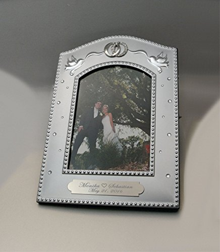Personalized 5x7 Silver Wedding Picture Frame with Ring Rhinestone Accent Engraved Free
