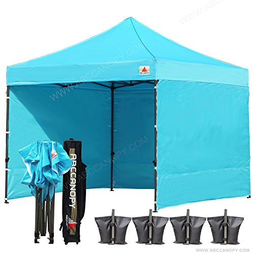 (18+ colors)AbcCanopy 8ft by 8ft Ez Pop up Canopy Tent Commercial Instant Gazebos with 4 Removable Sides and Roller Bag and 4x Weight Bag (sky blue)