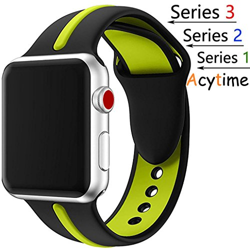 For Apple Watch Band, Acytime Durable Soft Silicone Replacement iWatch Band Sport Style Wrist Strap for Apple Watch Band Series 3 Series 2 Series 1 Sport, Edition (Black / Lime, 42mm-M/L) (Lime Apple)