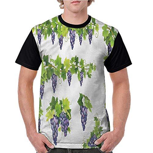 Raglan Baseball Tee,Vine,Green Leaf Cluster of Berries S-XXL Summer Men's Short Sleeve T-Shirt