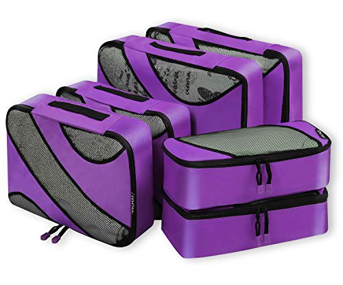 6 Set Packing Cubes,3 Various Sizes Travel Luggage Packing Organizers Purple ()