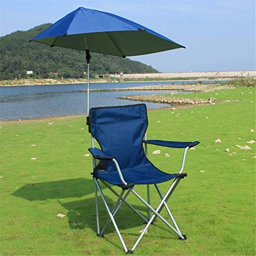 - Zichen Camping Chair Outdoor Folding Chair with Umbrella, Aluminum for Fishing Trekking Stool for Activities Outdoors/Camping/Barbecue/Beach/Backpack in s (Color : Blu)
