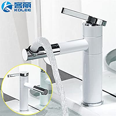 YSRBath Modern Bathroom Sink Faucet Antique Copper Cold Water White Free-Spinning Brass Grill White Paint Kitchen Bathroom Basin Mixer Tap Basin Faucet