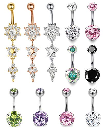 (LOLIAS 8-21 Pcs 14G Belly Button Rings for Women Girls Navel Barbell Rings Body Piercing Jewelry (D:11 PCS A Set))