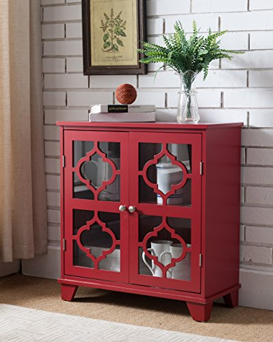 Red Wood Accent Entryway Console Buffet Display Table with Door Storage ()