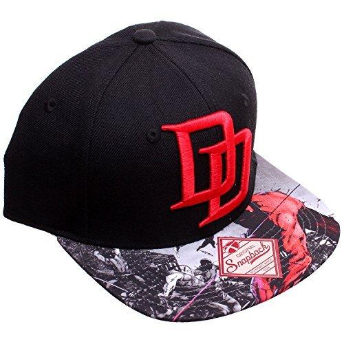 Marvel Black Daredevil DD Logo Sublimated Bill Snapback Baseball Cap