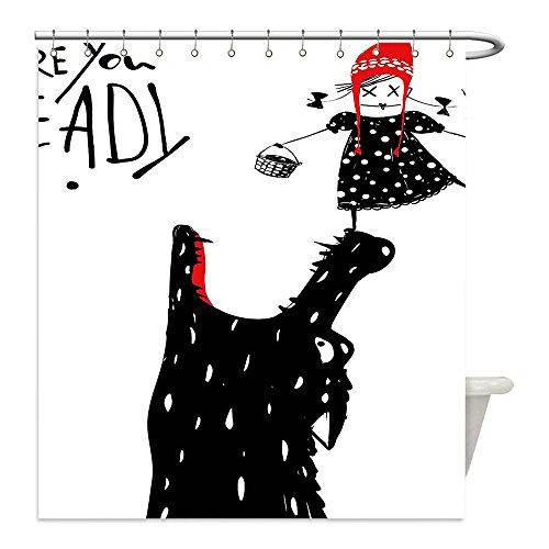 Red Riding Hood And Wolf Costume Diy (Liguo88 Custom Waterproof Bathroom Shower Curtain Polyester Modern Decor Cartoon Design Print with a Little Red Riding Hood Girl and Wolf Black Red and White Decorative bathroom)
