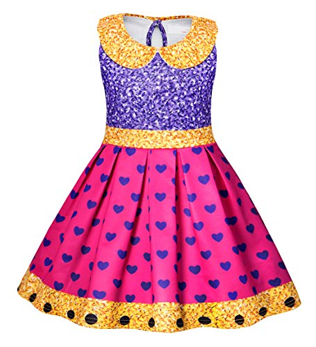 Halloween Skins Lol (AmzBarley Girls Dress Glitter Queen Princess Fancy Party Birthaday Cosplay Sleeveless Halloween Outfits Costume Age 8-9 Years Size)