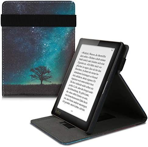 kwmobile Cover Compatible with Kobo Aura Edition 1 – PU Leather e-Reader Case – Cosmic Nature Blue/Grey/Black