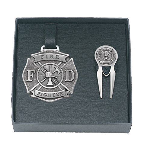 Pewter Tag - Heritage Products Firefighter Golf Set Bag Tag and Repair Tool, Pewter