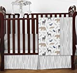 Blue Grey and White Woodland Animal Safari Bear Deer Fox Baby Boy Bedding 4pc Crib Set Without Bumper