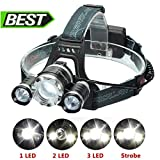 LED Headlamp Headlight,SGODDE 5000LM Super Bright Zoomable 4 Modes LED Head Torch,Rechargeable Waterproof Headlight for Biking, Cycling, Climbing, Camping, Dog Walking(Rechargeable Battery Included)