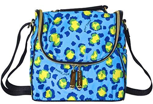 Betsey Johnson Kenya Cheetah Lunch Tote Bag Blue (Betsey Cat Shoe)
