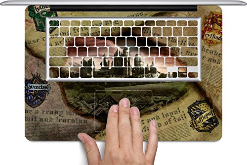 Hufflepuff Gryffindor Hogwarts Slytherin Ravenclaw Newspaper Design Pattern Print Macbook Full Keyboard Vinyl Decal Skin (Fits 13 inch) by Trendy (Slytherin Symbol)