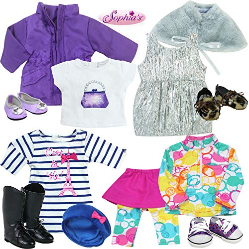 11 Piece Set Includes 2 Dresses, 2 Jackets, 2 Shirts, 1 Skort, 1 Hat and 3 Pairs of Shoes for 18 Inch Dolls