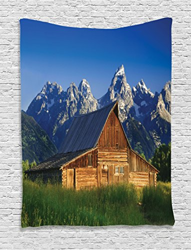 Ambesonne Farmhouse Decor Collection, The Moulton Barn and the Teton Mountain Range in Grand Teton National Park Wyoming Image, Bedroom Living Room Dorm Wall Hanging Tapestry, Navy Green