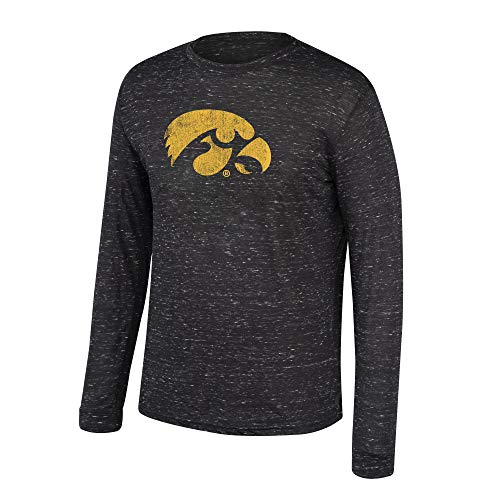 Top of the World NCAA Men's Iowa Hawkeyes Dark Heather Hearitage Tri-blend Long Sleeve Tee Black Heather Large Blend Long Sleeve Tee
