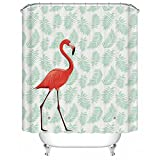 "Uphome PEVA Bathroom Shower Curtain, Tropical Pink Flamingo with Leaves Pattern - Waterproof and Durable Bath Curtain Liner Design (60"" W x 72"" H, Flamingo)"