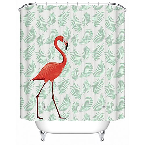 PEVA Bathroom Shower Curtain, Uphome Tropical Pink Flamingo with Leaves Pattern - Waterproof and Mildewproof Durable Bath Curtain Liner Design (72