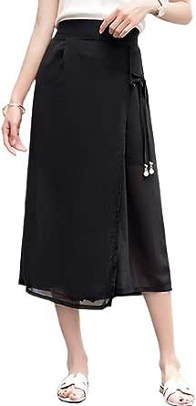 Woman's Pants Lace Up Solid Color Chiffon Wide Leg Pants