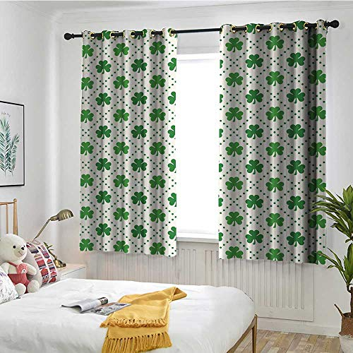 MaryMunger Irish Custom Curtain Four Leaf Shamrock Clover Flowers with Dotted Dashed Lines National Culture Symbol Embossed Thermal Weaved Blackout W 72