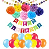 Happy Birthday Banner Decorations - Cocodeko 8 Colorful Paper Pom Poms Set with 20 Pcs Balloons and 2 Pcs Paper Garland for Birthday Party Decorations