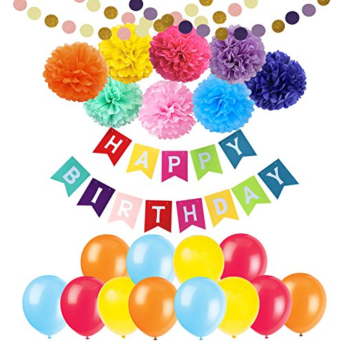 Happy Birthday Banner Decorations - Cocodeko 8 Colorful Paper Pom Poms Set with 20 Pcs Balloons and 2 Pcs Paper Garland for Birthday Party Decorations by Cocodeko