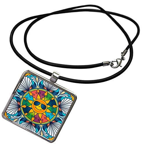 Shell Rectangle Pendant - 3dRose Alexis Design - Mandala Background - Chic Summer Season Mandala Background. Sun in Sunglasses, Seashells - Necklace with Rectangle Pendant (ncl_300541_1)