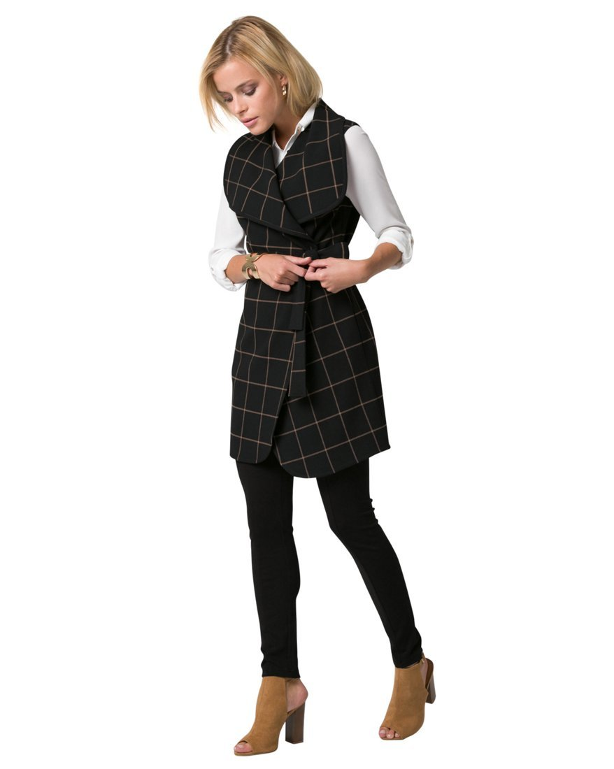 LE CHÂTEAU Women's Windowpane Belted Long Vest 347869