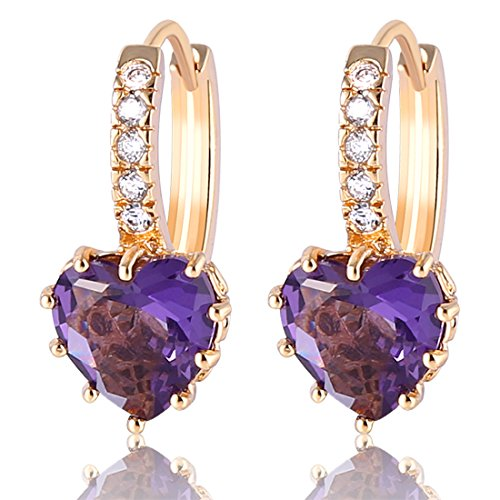 GUlICX Gold Plated Base CZ Purple Amethyst Color Heart hoop leverback earrings ()