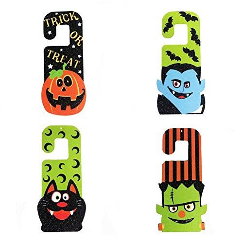 VORCOOL Halloween Decorations,4pcs Decorative Door Hanger Hook Sign