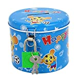 uxcell® Round Design Cartoon Animal Printed Metal Piggy Bank Blue w Padlock