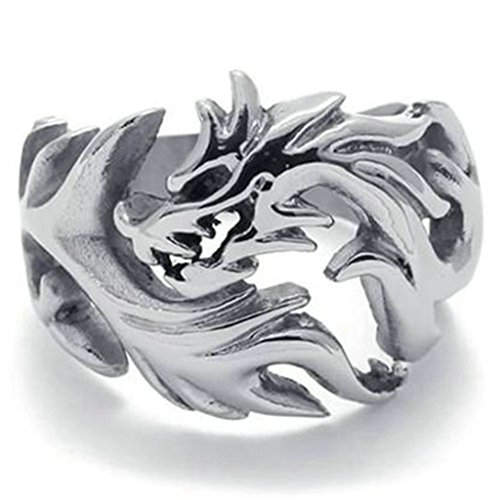 [Stainless Steel Ring for Men, Dragon Ring Gothic Silver Band 18MM Size 13 Epinki] (King Triton Costume Ideas)