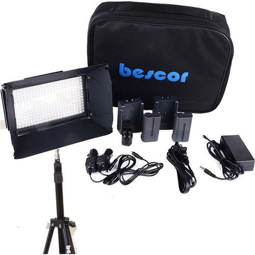 Bescor FP-312T 3-Point LED Light Kit, Includes 3x FP-312 On-Camera Bi-Color LED Light, 3x LS180 Light Stand, 3x AC Power Supply Bescor Led