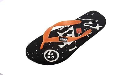 7ed0507260aca1 Image Unavailable. Image not available for. Colour  Orro Men s Black orange  Rubber Flip Flops ...