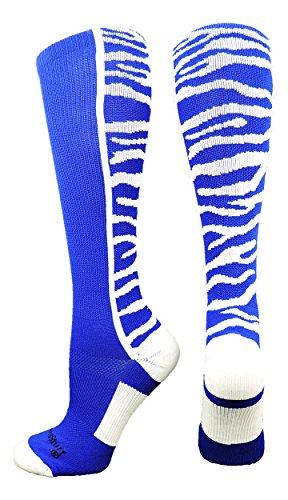 MadSportsStuff Crazy Socks with Safari Tiger Stripes Over the Calf Socks (Royal/White, Medium)