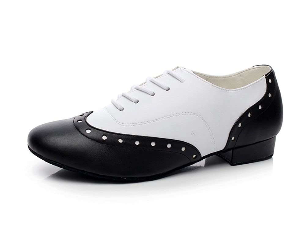 Men's 1950s Shoes Styles- Classics to Saddles to Rockabilly  Mens 1 Heel Leather Modern Salsa Tango Ballroom Latin Dance Shoes Minishion QJ9011 $35.99 AT vintagedancer.com