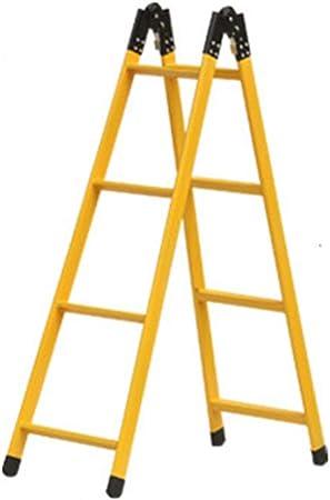 QFF Doble finalidad de hierro escaleras de tijera, antideslizante Escalera al aire libre Trabajo escaleras de tijera de seguridad de cuatro pasos de escalera/Amarillo/Capacidad de carga: 150 Kg do: Amazon.es: Bricolaje y