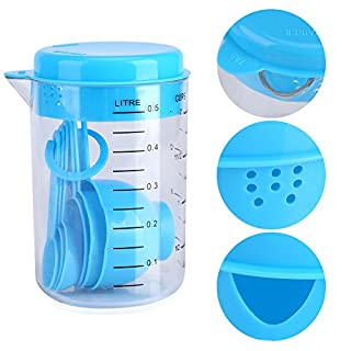Plastic Measuring Cups and Spoons Set, Clear Measuring Cup with Lid 6 Blue Spoons for Home Kitchen Baking Craft Set Tool (600ML)