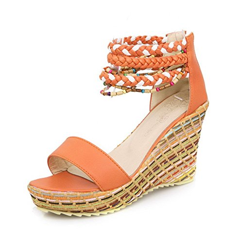 AllhqFashion Women's Open Toe Zipper Pu Assorted Color High Heels Sandals Orange