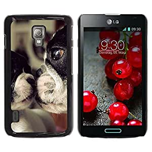 Paccase / SLIM PC / Aliminium Casa Carcasa Funda Case Cover para - Terrier Dog Mother Love Sweet Cute - LG Optimus L7 II P710 / L7X P714