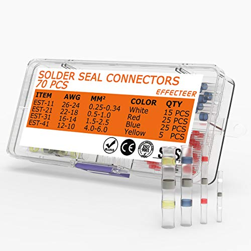 Heat Shrink Connector Kit Solder Seal Wire Connectors Insulated Waterproof Electrical Marine Automotive Wire Terminals Butt Splice(4 Colors / 4 Sizes) (Wireless Connectors)