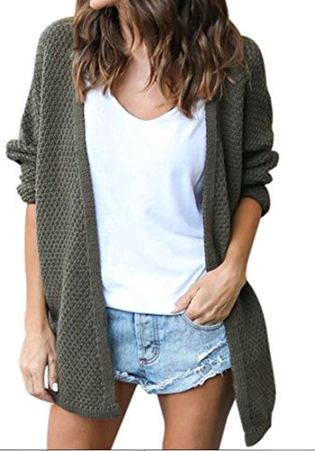 Green Cardigan M Knitted Open Front Winter Women's amp;S amp;W Casual Sweater v4wvZqT