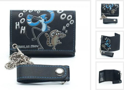 Regular Show Cartoon Network Tri Fold Wallet with Chain