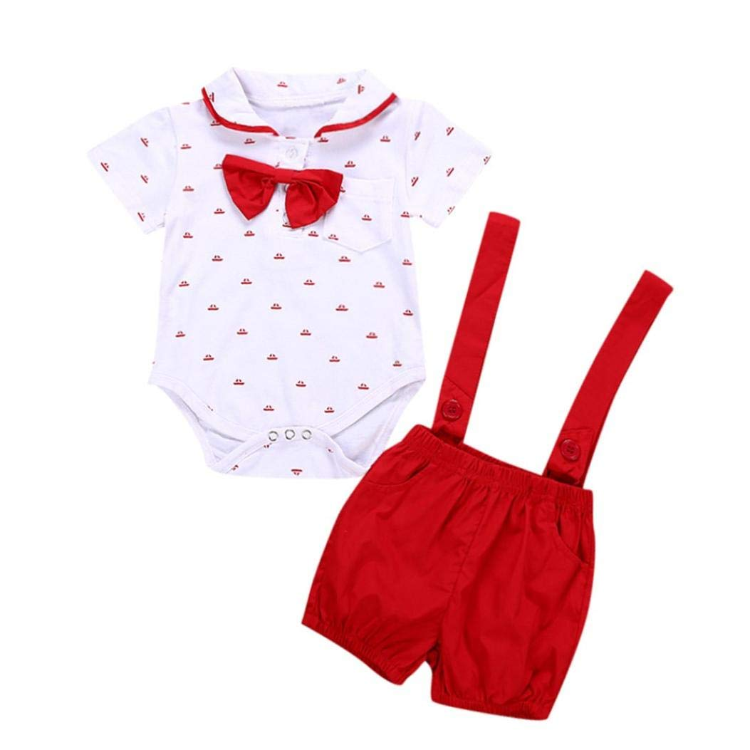 0-24 Month Infant Formal Outfit, Baby Boys Short Sleeve Tie Romper Print Clothes + Toddler Solid Pants 2PCS Set Outfits