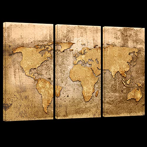 LevvArts - Large 3 Piece Map Canvas Wall Art Map of The World Posters Prints Painting Gallery Wrapped Vintage Home Office Living Room Wall Decoration (Canvas Gold Map)